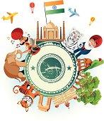 India Travel Cartoon