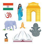 India travel vector icons.