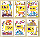 India vector brochure cards thin line set. Country travel template of flyear, magazines, posters, book cover, banners. Layout culture monument outline illustrations modern pages