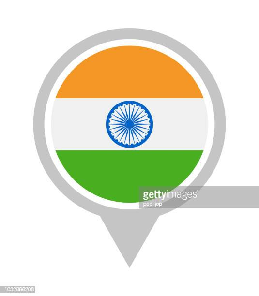 india - vector round flag pin flat icon - indian flag stock illustrations