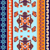Indian abstract medallion pattern.Boho and gypsy style. Ethnic paisley ornament.