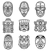 Indian aztec and african historic tribal mask vector set