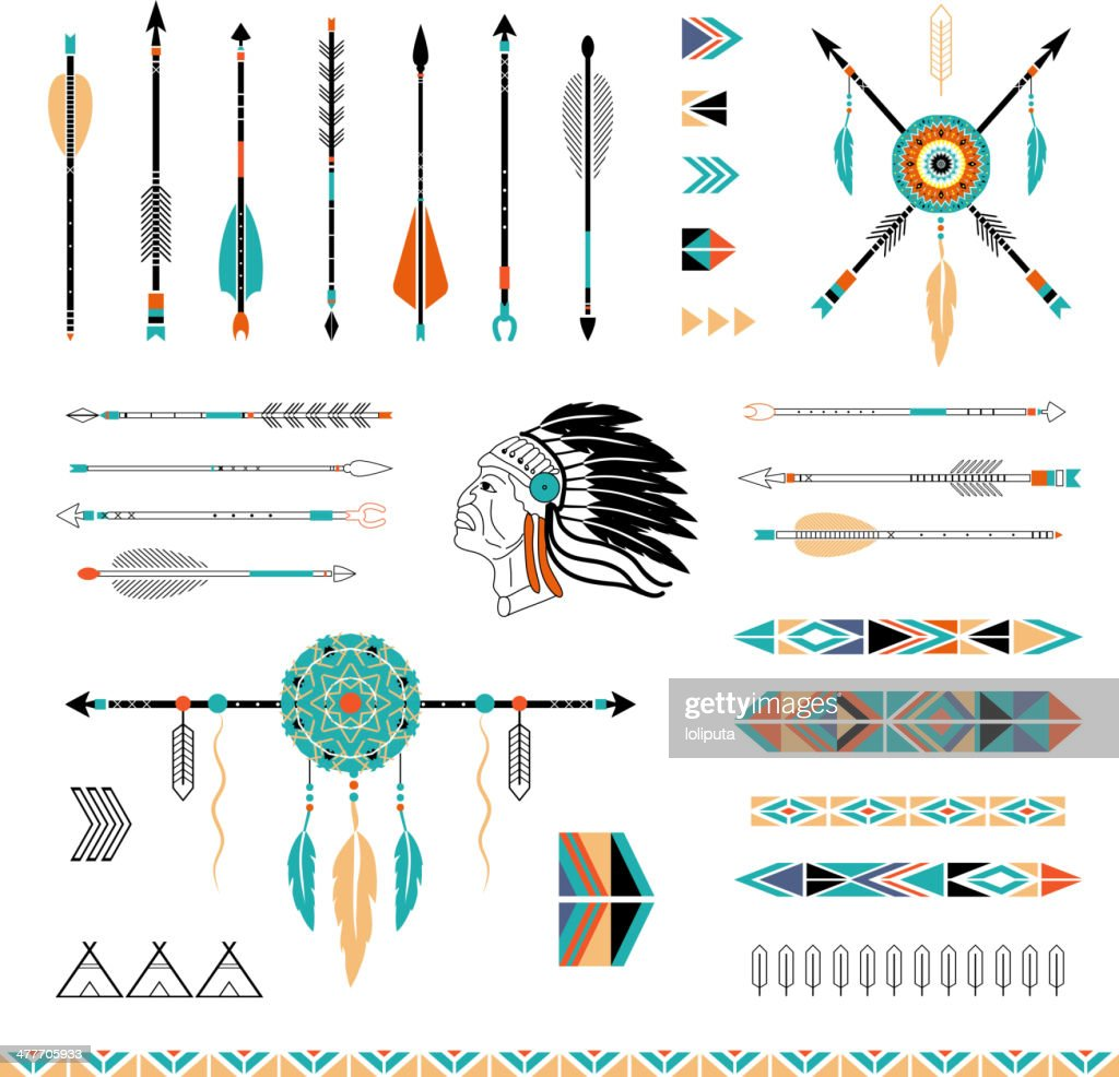Indian, Aztec arrows, teepees and embellishments