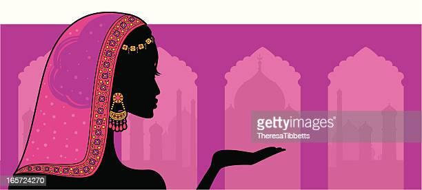 ilustraciones, imágenes clip art, dibujos animados e iconos de stock de indian belleza de - etnia del subcontinente indio