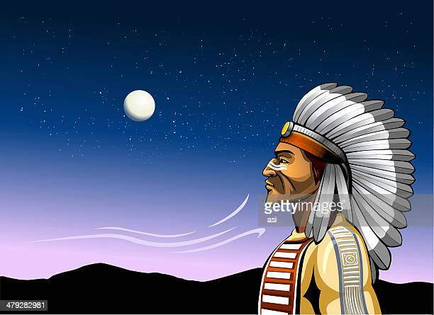 indian chief and the wind of change - apache culture stock illustrations, clip art, cartoons, & icons