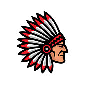 Indian Chief Head Icon. Native american mascot.