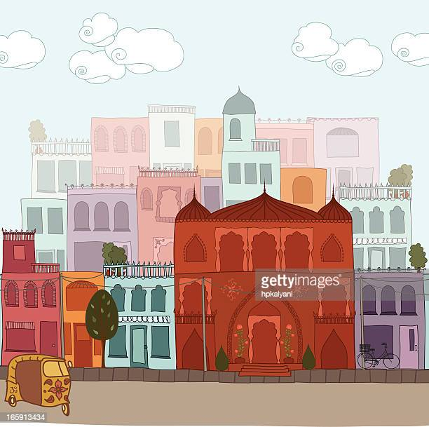 indian cityscape - architectural feature stock illustrations, clip art, cartoons, & icons