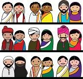 Indian couple vector avatar illustration