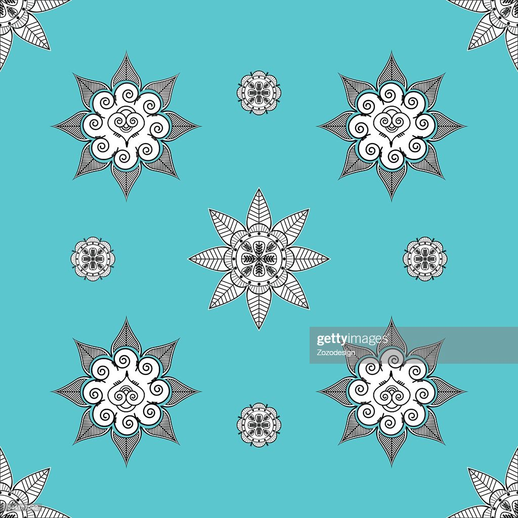 Indian Culture Inspired Seamless Turquoise Wallpaper Clipart