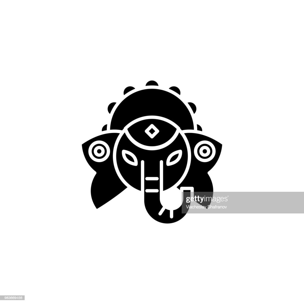 Indian deity black icon concept. Indian deity flat  vector symbol, sign, illustration.