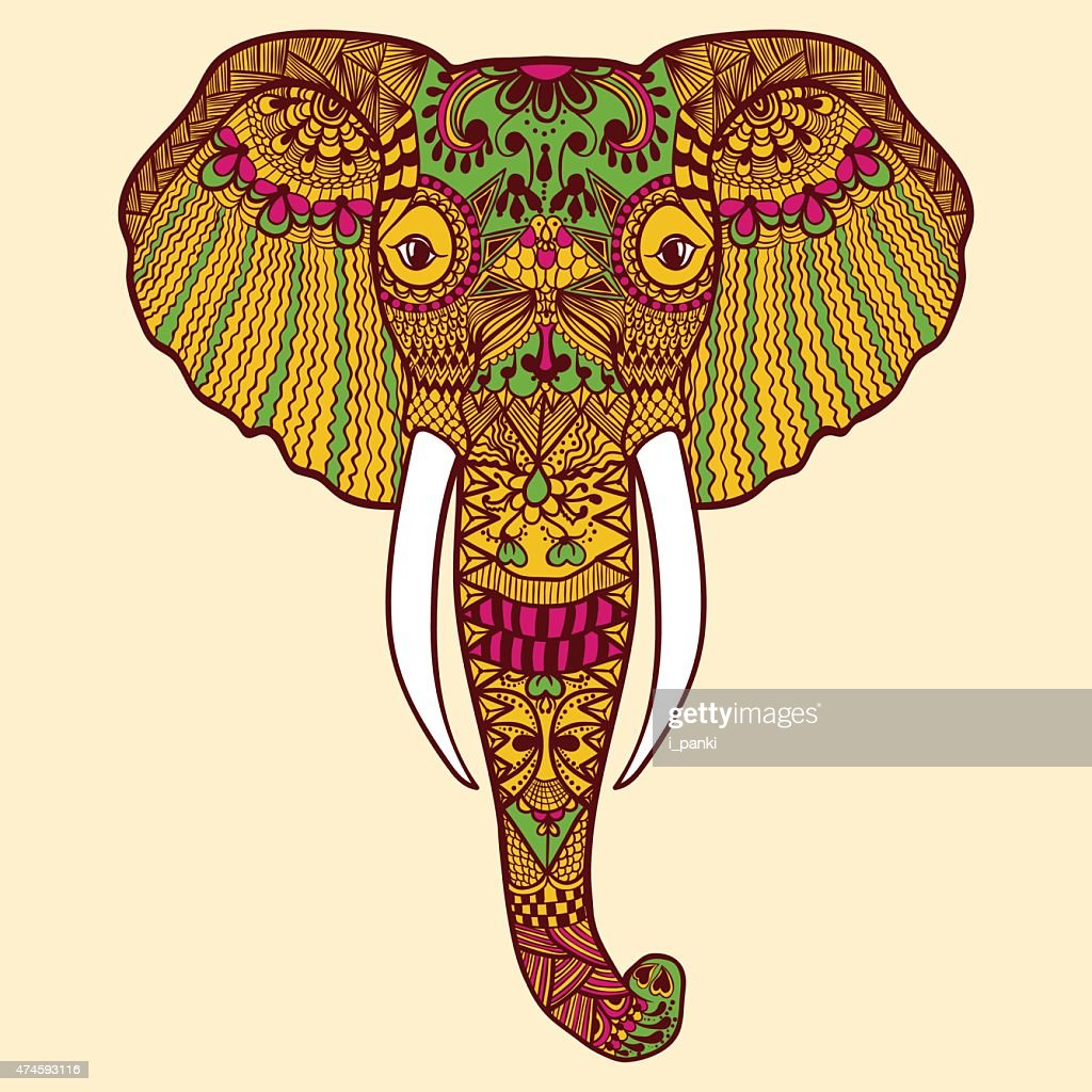 Indian Elephant. Hand Drawn lace vector illus
