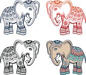 Indian ethnic elephant with african tribal ornament