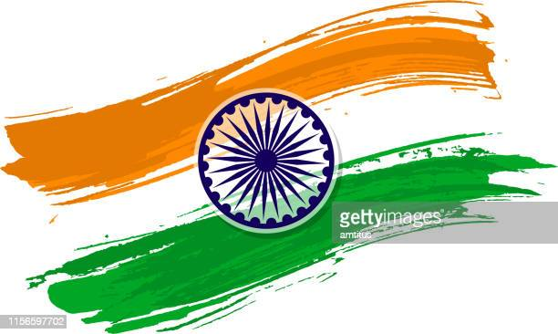 indian flag brush stroke - indian flag stock illustrations
