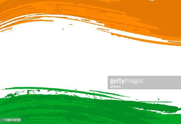 indian flag brush strokes - india stock illustrations
