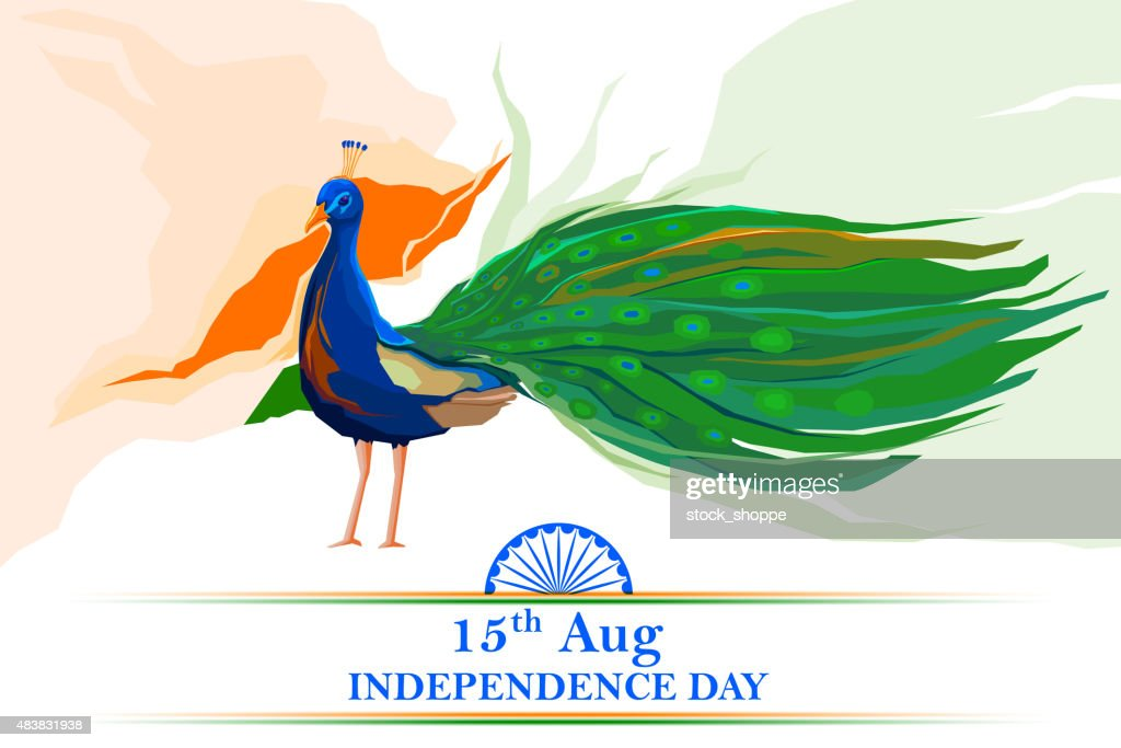Indian flag colored decorated peacock
