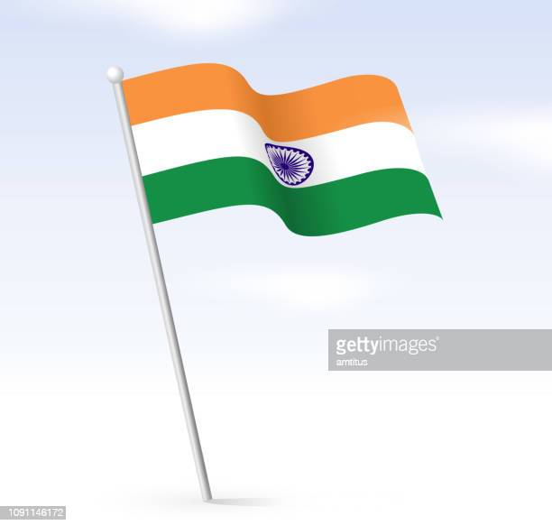 indian flag sky - indian flag stock illustrations
