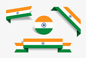Indian flag stickers and labels. Vector illustration.