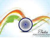 Indian Flag wave background with ashok chakra