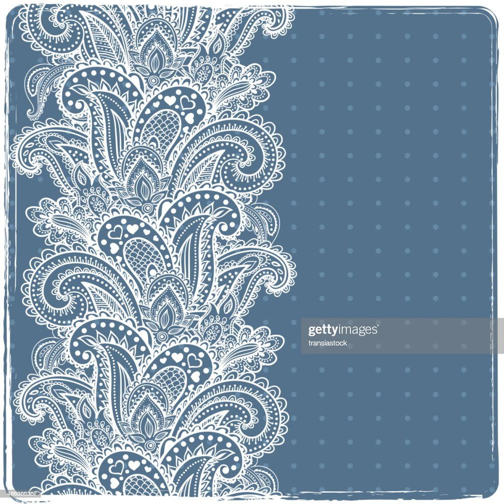 Indian floral ornament in white and blue