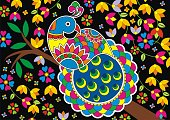 Indian Folk Painting- Madhubani Painting of a Peacock