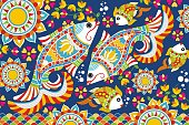 Indian Folk Painting- Ornamental Madhubani Painting of a fish