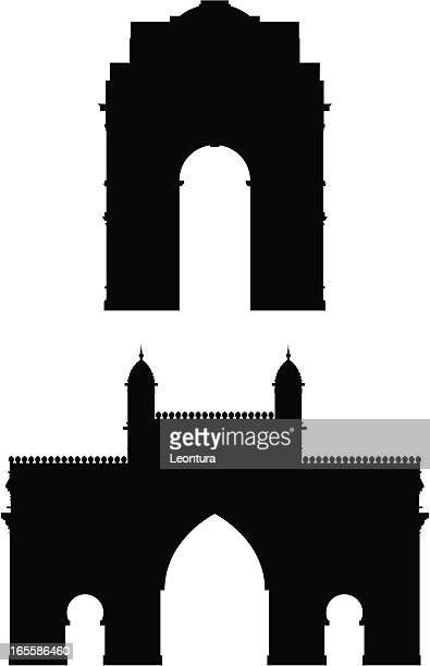 indian gates - india gate stock illustrations