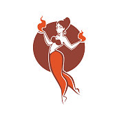 indian girl dancing with fire, image for your logo, label, emblem