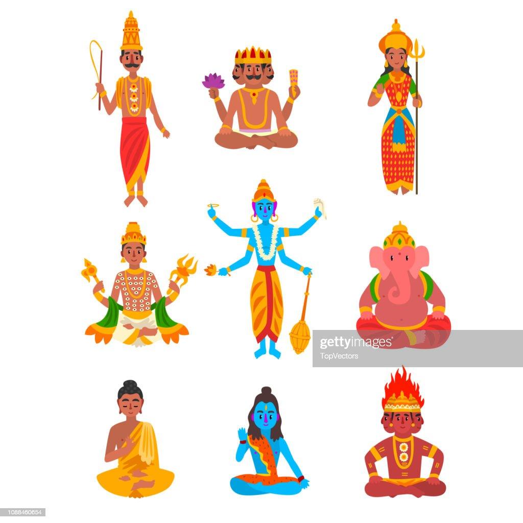 Indian god set, Varuna, Brahma, Parvati, Indra, Vishnu, Buddha, Shiva, Agni, Ganesha vector Illustration on a white background