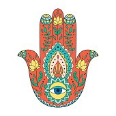 Indian hand drawn hamsa. Hamsa henna tattoo with ethnic ornament.