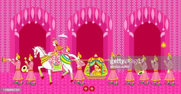 indian  hindu wedding invitation  card, - hinduism stock illustrations