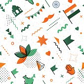 Indian holiday abstract background in 80s trendy style.