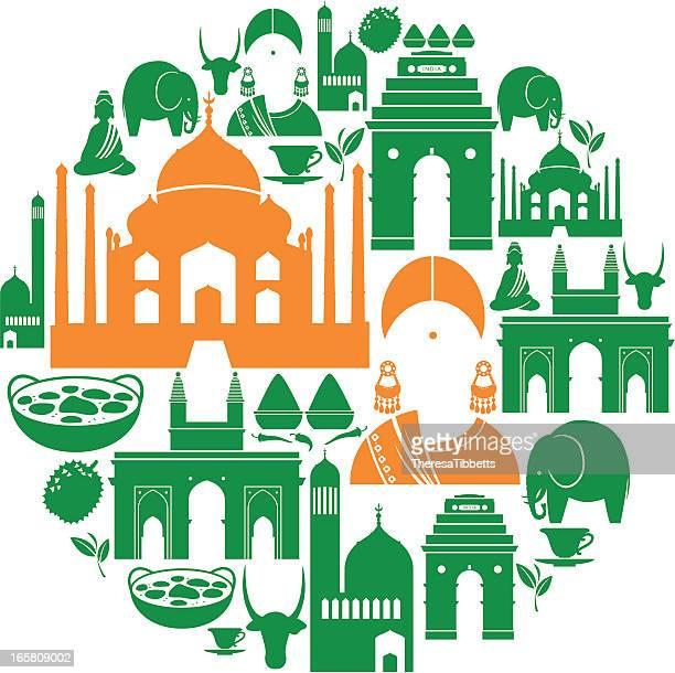 ilustraciones, imágenes clip art, dibujos animados e iconos de stock de indian icono de montaje - etnia del subcontinente indio