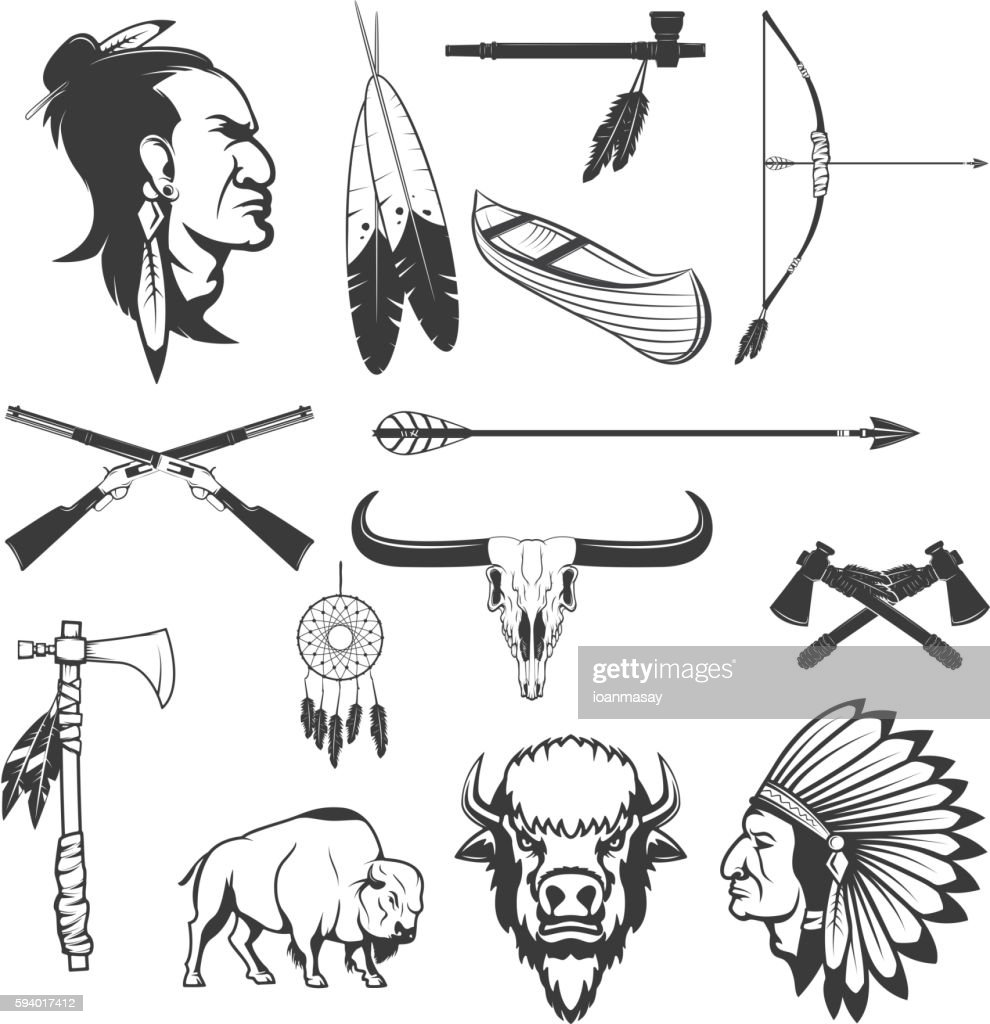 Indian icons. Native americans.  American indians weapon.