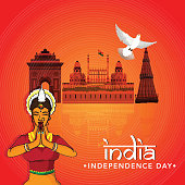 Indian Independence Day celebration concept with famous monuments, flying dove and Indian lady in traditional welcoming (namaste) pose.