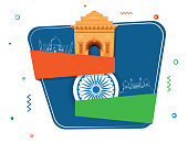 Indian Independence Day celebration concept with India Gate, Ashoka Wheel on blue and white background.