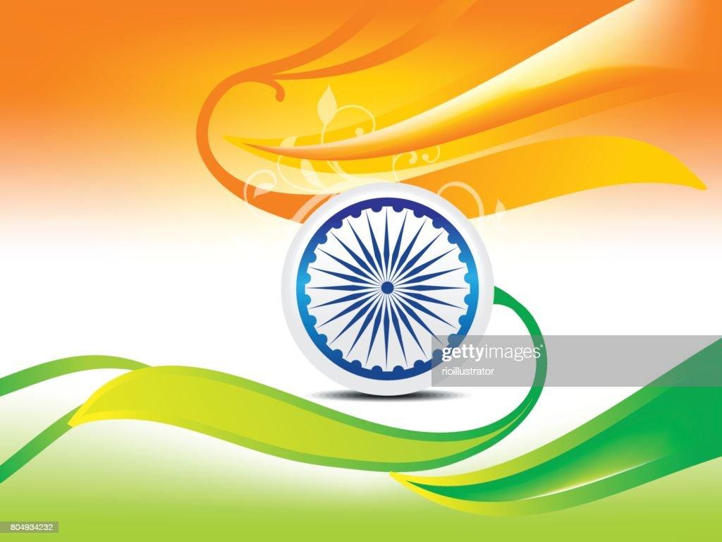 Indian independence day wave background vector illustration
