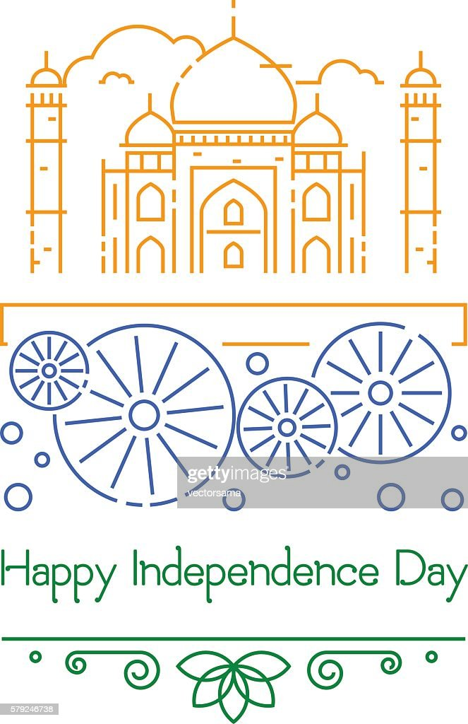Indian Independence Day with Ashoka Wheel and national flag colors.