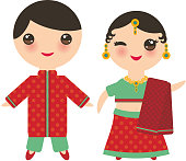 Indian Kawaii boy and girl in national costume. Cartoon children in traditional India dress sari isolated on white background. Vector