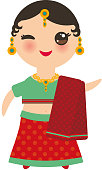 Indian Kawaii girl in national costume. Cartoon children in traditional India dress sari isolated on white background. Vector