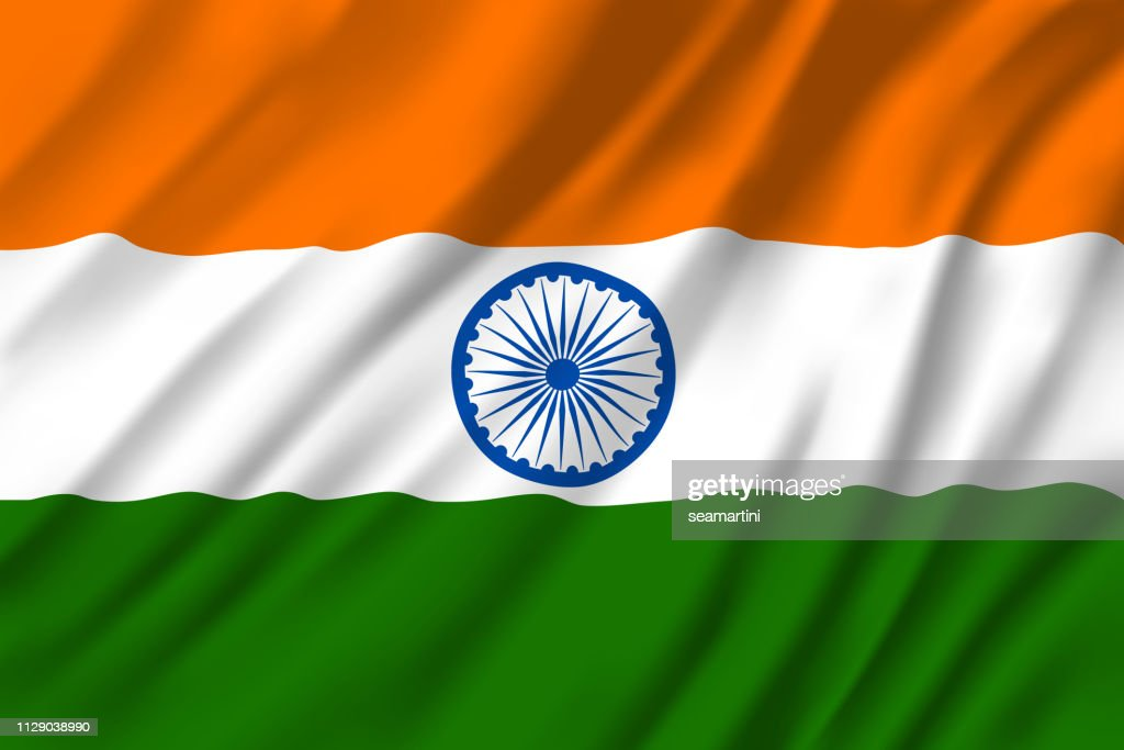 Indian national tricolor flag, 3D vector