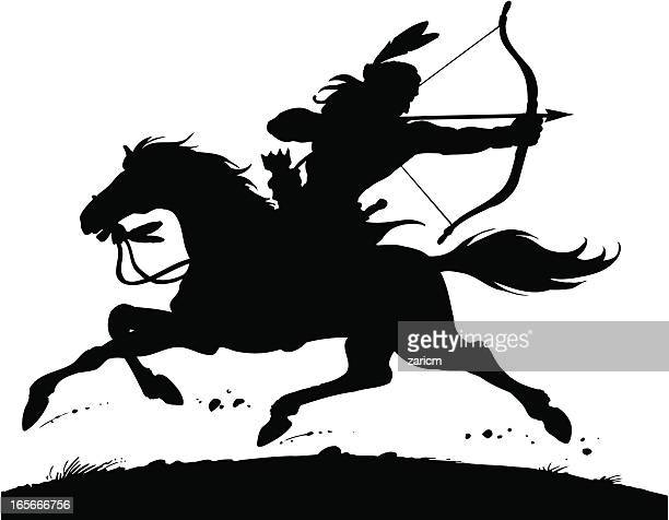 indian on the horse - indigenous north american culture stock illustrations, clip art, cartoons, & icons