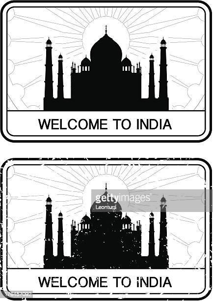 ilustrações, clipart, desenhos animados e ícones de indian visto de passaporte - taj mahal