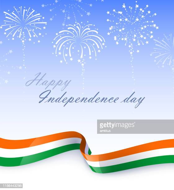 indian patriotism fireworks - indian flag stock illustrations
