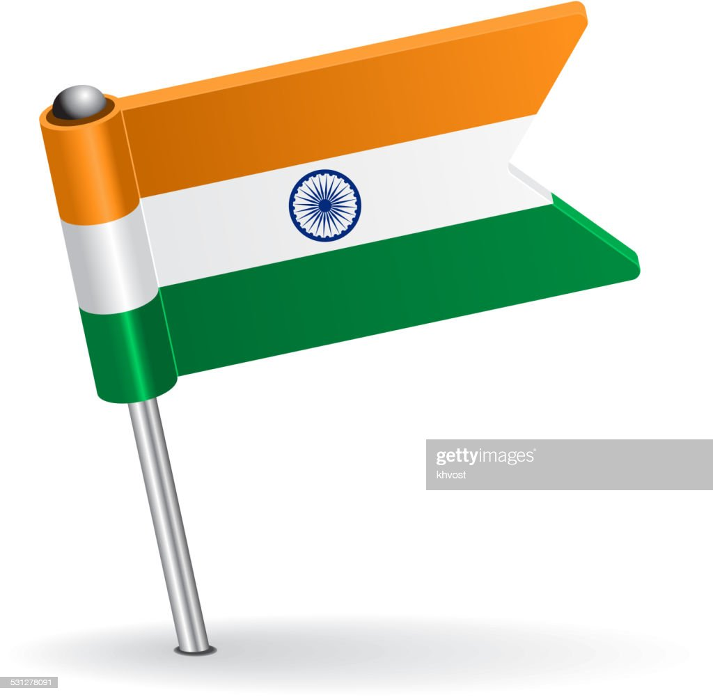 Indian pin icon flag. Vector illustration