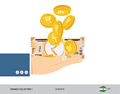 200 Indian Rupee Banknote and coins in the palm of hands. Flat style vector illustration. Finance concept.
