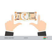200 Indian Rupee Banknote. Business hands measuring banknote. Flat style vector illustration. Business finance concept.