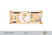 200 Indian Rupee Banknote. Flat style highly detailed vector illustration. Isolated on white background. Suitable for print materials, web design, mobile app and infographics.