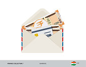 200 Indian Rupee Banknote. Flat style opened envelope with cash. Indian Rupee banknotes and credit card. Salary payout or bank transaction concept.