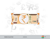 200 Indian Rupee Banknote. Flat style vector illustration isolated on currency background. Finance concept.