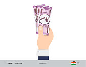 2000 Indian Rupee Banknote. Hand gives money. Flat style vector illustration. Salary payout or corruption concept.